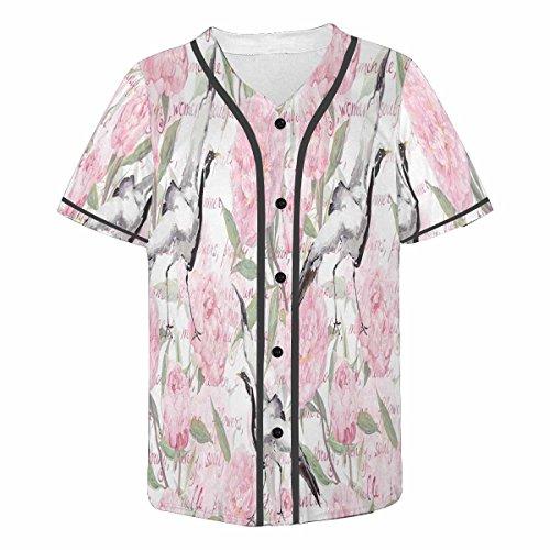 InterestPrint Men's Button Down Baseball Jersey Short Sleeve Shirt Crane Birds with Pink Peony Flowers M ()