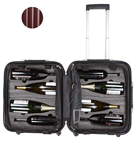 (VinGardeValise - Up to 8 Bottles & All Purpose Wine Travel Suitcase (Burgundy))