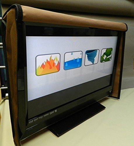 Naked Front Flap Lifts Up Waterproof Tv Cover , Cover Stay on all the Time. TV Screen Protector. (33-42', Clove)