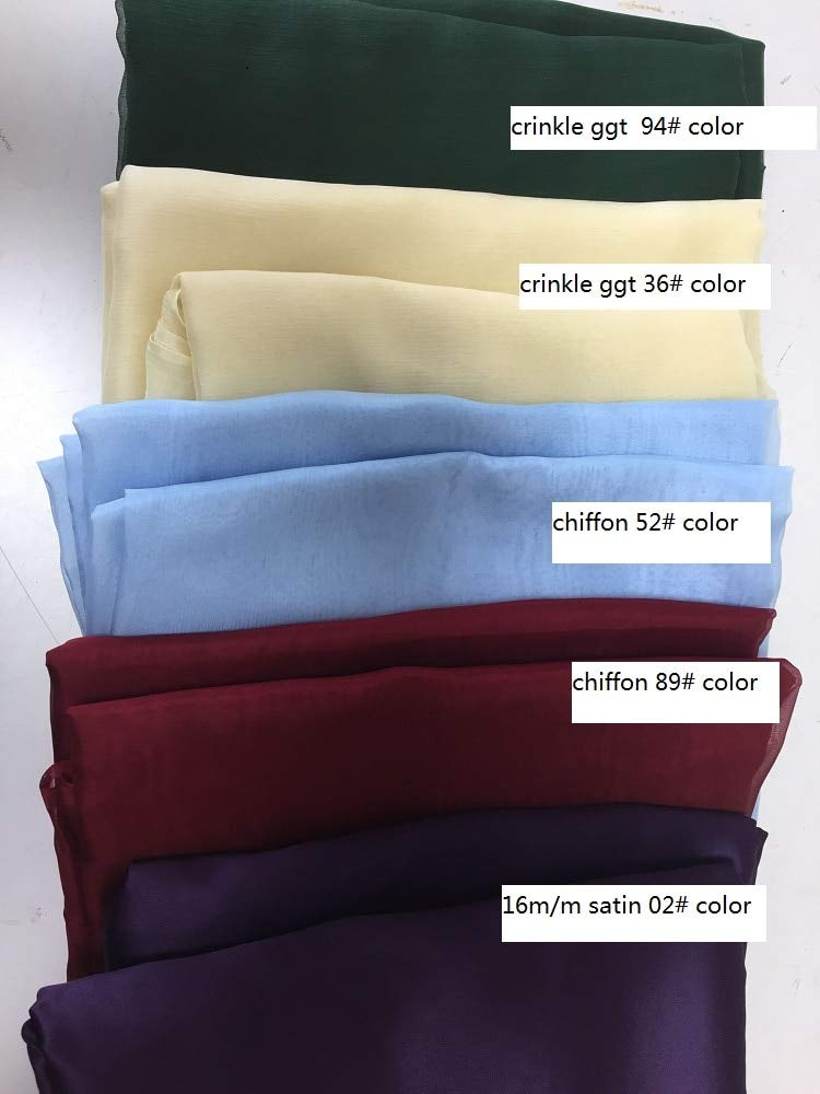 30gsm tulle 5yards Pukido Howmay 100% pure silk fabric remnant mixed for women's dress lining and DIY handmade habutai satin crepe organza dupion tulle  (color  30gsm tulle 5yards)