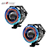 AllExtreme 2 Pieces U11 CREE-LED - Head Hunters LED Projector 3000LMW Headlight Fog Lamp (Dual Ring Blue & Red) Fog Light