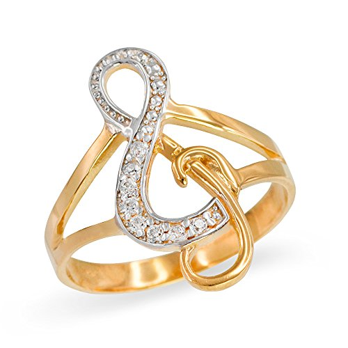 Treble G-Clef Music Note Diamond Ring in Polished 10k Yellow Gold (Size (Solid Yellow Gold Musical Notes)