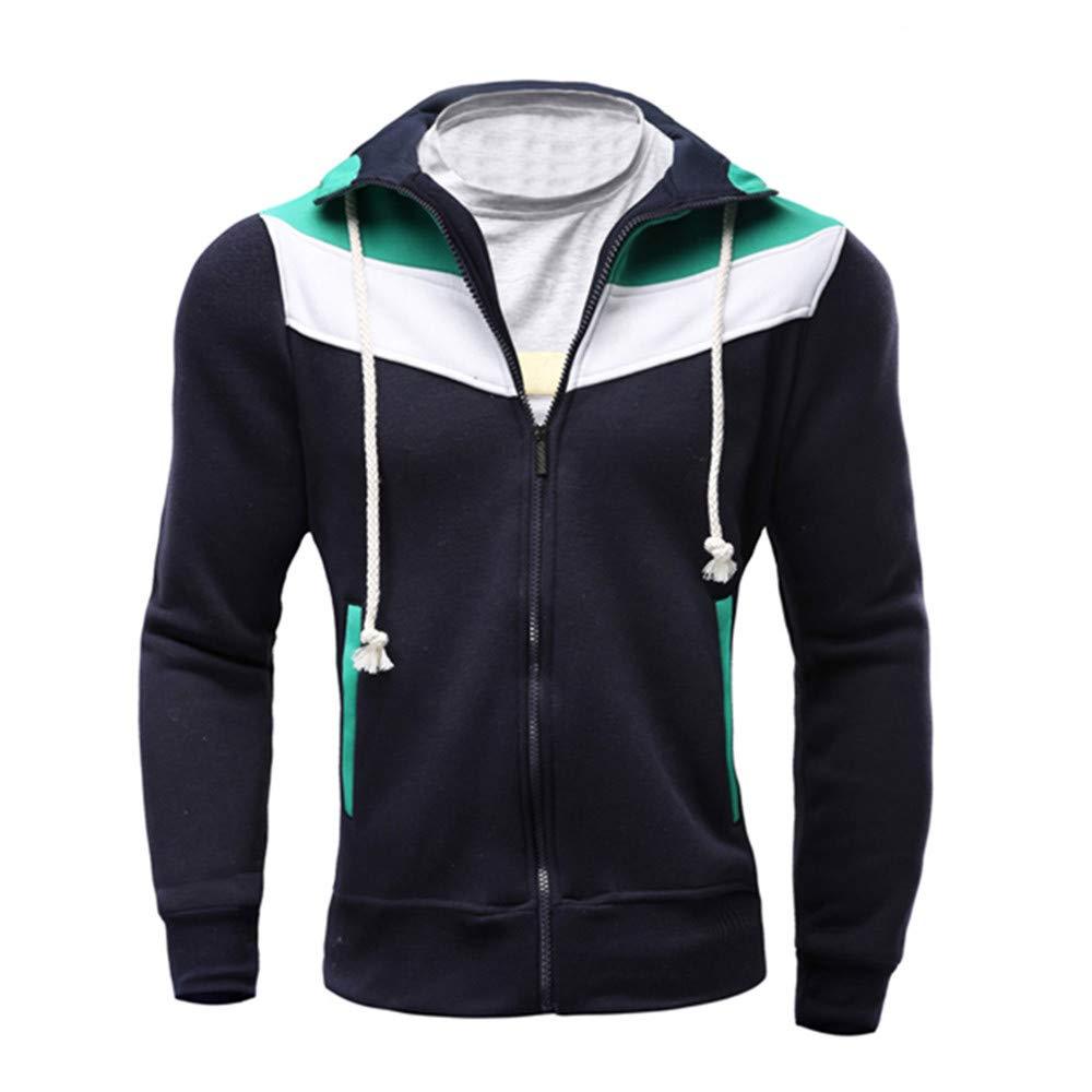 Herren Jacke, TIFIY Herbst Winter Thermische Jacke Zipper Coat Spleißen Pullover Sport Wandern Mantel Men Fashion Cardigan Biker Hoodie TIFIY-outwear
