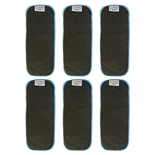 EcoAble 5 Layer Charcoal Bamboo Inserts Reusable Liners for Baby Cloth Diapers (Pack of 6)