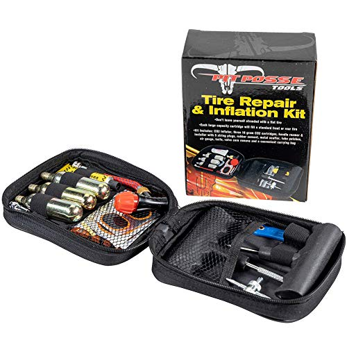 Pit Posse Motorcycle Tire Repair Kit with CO2 Inflator and Cartridges for Tube and Tubeless Tires, Emergency Roadside Kit, Flat Tire Accessories for Easy Repair ()