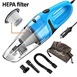 LIBERRWAY Car Vacuum Cleaner High Power DC 12v Portable Handheld Wet Dry Auto Vacuum Cleaner for Car, 5.0Kpa Suction with Cigarette Lighter Plug 14ft Power Cord, Carrying Bag, HEPA Filter - Blue