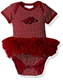 Two Feet Ahead NCAA Arkansas Razorbacks Children Girls Pin Dot Tutu Creeper,Nb,Crimson