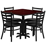 36'' Square Laminate Table Set with 4 Ladder Back Metal Chairs - Black Vinyl Seat Mahogany
