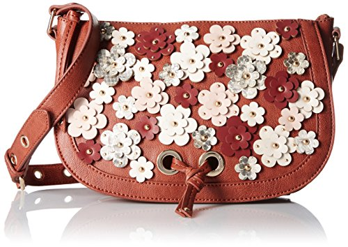 Nine West Evelina Crossbody, New Saddle Milk Russet New Cameo Rose/Natural Multi