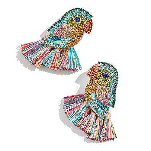 Tassel Statement Earrings Bohemian Bead Handmade Drop Dangle Earrings for Women Girls (Bird)