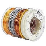 AMOLEN 3D Printer Filament Bundle,PLA Filament 1.75mm Bundle,Marble Filament,Glow in The Dark Filament,Silk PLA Gold and Copper,3D Printing Filament Bundle,200g X 4 Spools