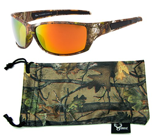Hornz Brown Forrest Camouflage Polarized Sunglasses for Men Full Frame & Free Matching Microfiber Pouch – Brown Camo Frame – Orange - Hunting Glasses