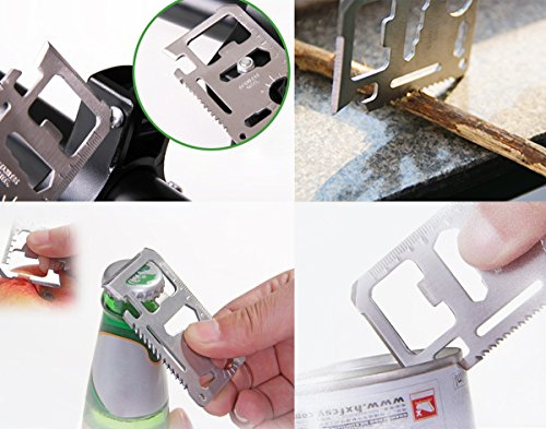 Credit Card 11-in-1 Survival Pocket Tool, Thickened Stainless Beer Opener steel/Inch Scale/Double Row Sawtooth Pocket Tool for Men (10PCS) Photo #7