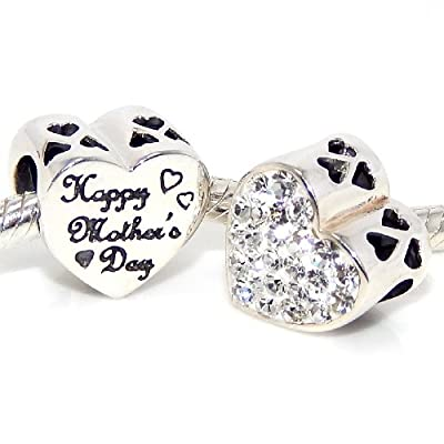 "Pro Jewelry .925 Sterling Silver ""Happy Mothers Day Heart w/ White Crystal"" Charm Bead for Snake Chain Charm Bracelet"