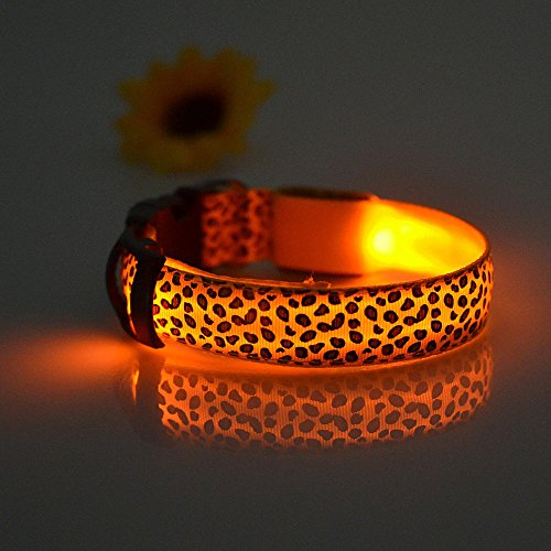 Namsan Leopard Pattern LED Collar for Dogs Pets Puppy Doggie