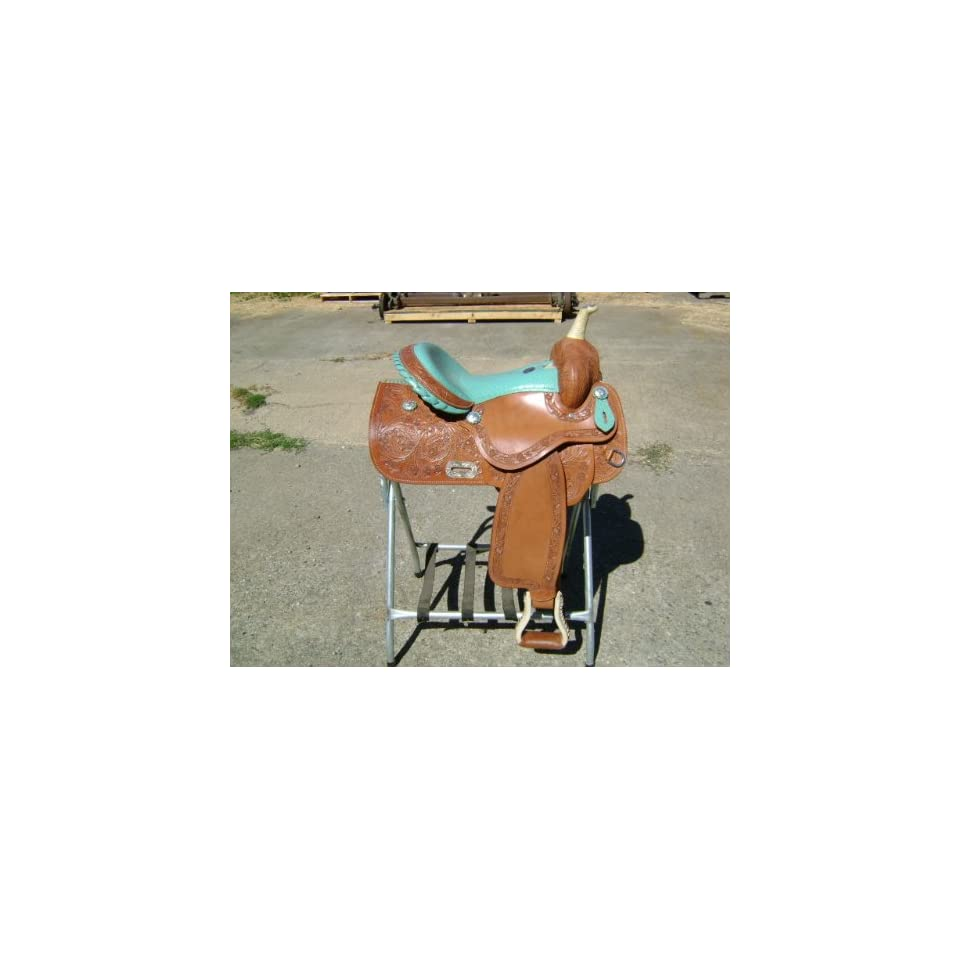 15 Turquoise Ostrich Leather Western Barrel Racer Racing Show Horse Saddle