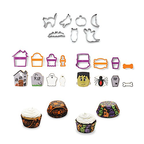 Halloween Cookie Cutter/Bakecup Bundle, Includes 50 ct Pumpkin & 50 ct Skull bakecups and Assorted Cookie Cutters Incl. Frankenstein, Mummy, Ghost, Spider & -