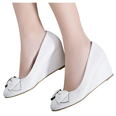 YiYLunneo Womens Wedge Pumps Heel Shoes Slip On with Bow Mother of Brige Shoes Wedding Office Business Single Shoes: Clothing