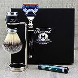 Quality Gift set for Men Synthetic Silver Tip Badger Hair Brush Shaving Brush, Gillette Fusion Razor
