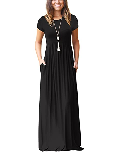 ee548768af ORQ Women s Plus Size Short Sleeve Loose Plain Casual Long Maxi Dress with  Pockets Black