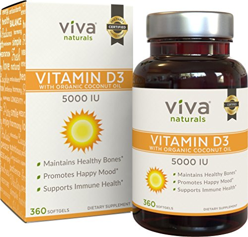 Viva Naturals High Potency Vitamin D3 5000 IU, 360 Softgels, Vitamin D Delivered in Organic Coconut Oil for Enhanced Absorption (Plus Supplement Same Tablets Dietary)