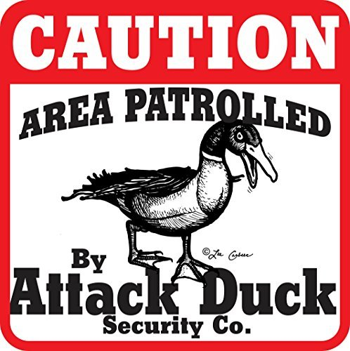 Caution Attack Duck Metal Sign / Plaque - 12x12 inch