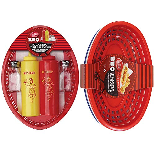 Table Craft (Set) Red, White, and Blue Oval Picnic Baskets Set and Classic Picnic Pack (And Pepper Set Salt Oval)