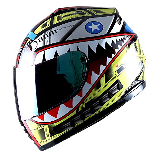WOW Motorcycle Full Face Helmet Street Bike BMX MX Youth Kids Shark Yellow (Yellow Motorcycle Helmet)