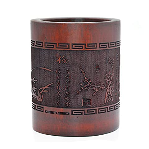 Medifier Vintage Chinese Bamboo Wood Desk Pen Pencil Cup Holder (Bamboo Brush Pen)