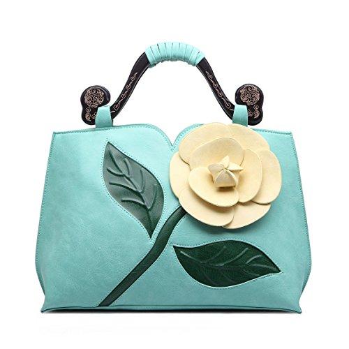 Celsino Women Handbag Clutch Purses Shoulder Bag Large Flower PU Leather with Wooden Handle Bags (Green) Green Wooden Handle