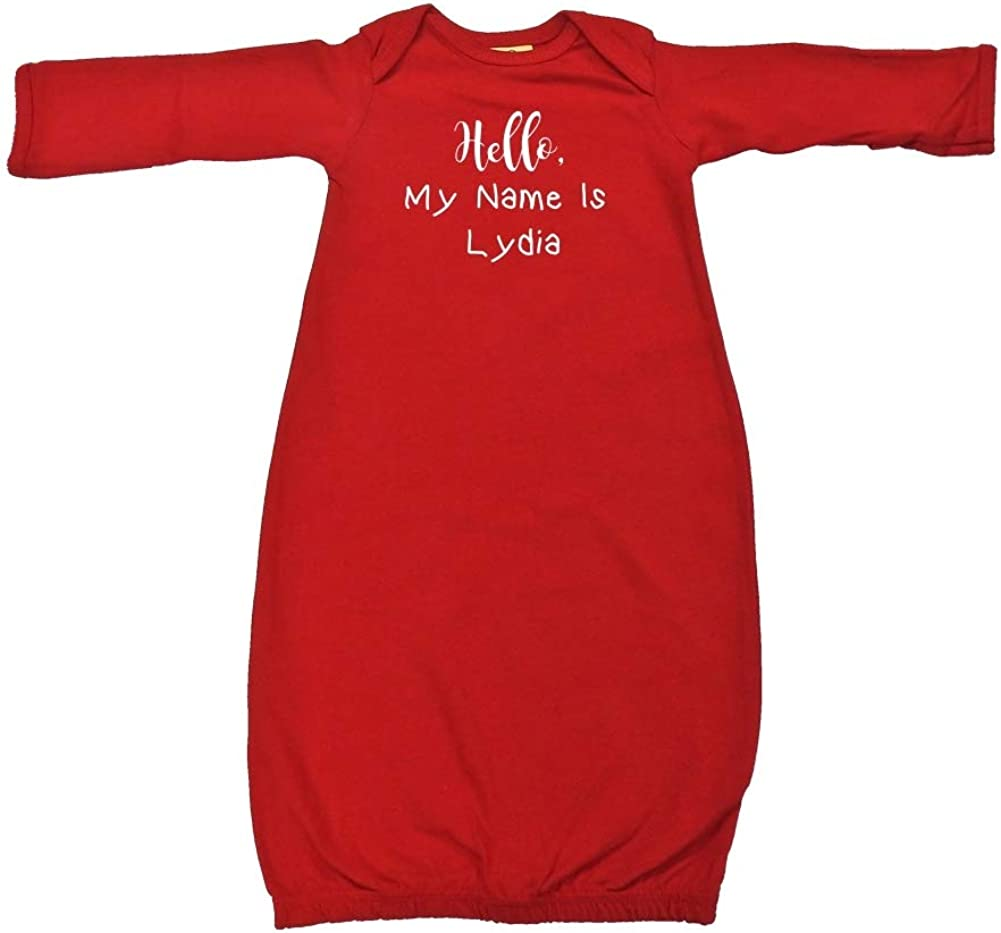 Mashed Clothing Hello My Name is Lydia Personalized Name Baby Cotton Sleeper Gown