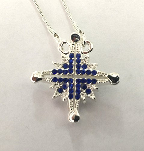 Jerusalem Rhodium Plated Bethlehem Star Blue Open Pendant 20