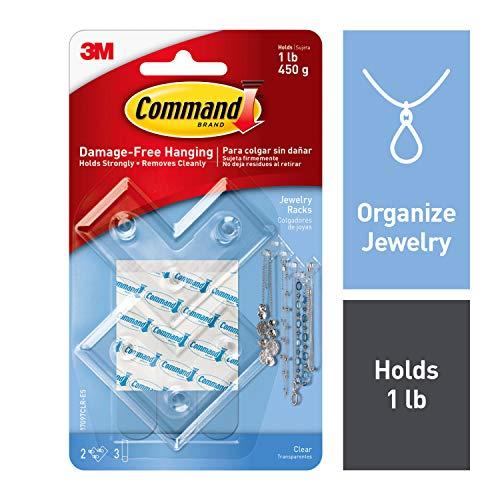 Quartz Stick Pin - Command Jewelry Rack, 2 racks, 3 strips, Holds 1 lb, Organize Damage-Free (17097CLR-ES)