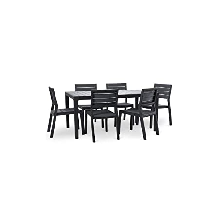 Keter conjunto Harmony mesa 160 cm + 6 sillas - Graphite: Amazon ...
