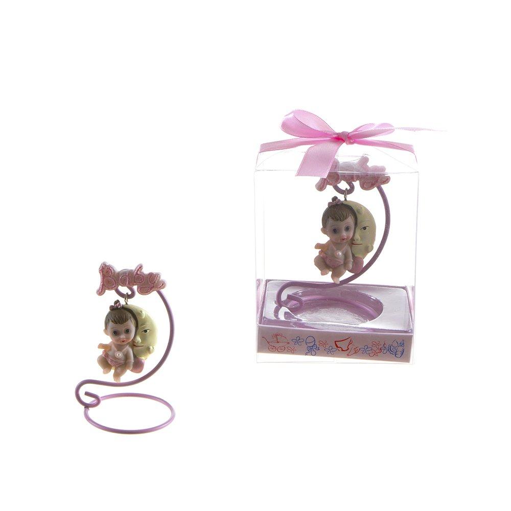 Lunaura Baby Keepsake - Set of 12 'Girl' Baby Sitting on Swing Moon Favors - Pink CB185W-P