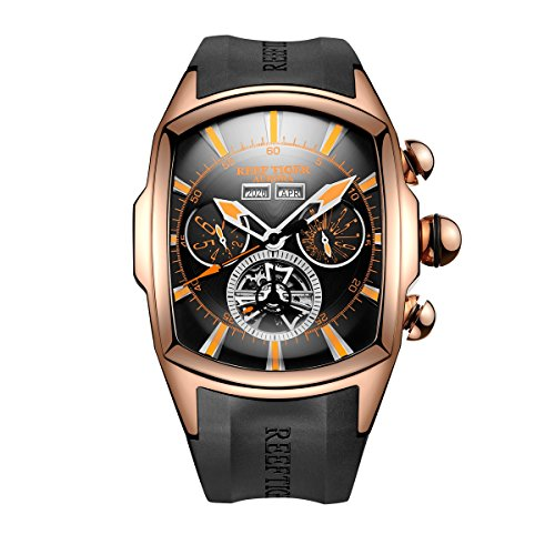 Reef Tiger Sport Watches for Men Rose Gold Tone Tourbillon Automatic Watch Rubber Strap RGA3069 ()