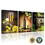 grape leaf poster - Creative Art - Canvas Print Wall Art Painting Still Life of Green Grapes Vine Leaf and White Wine in Bottle & Glass 3 Pieces Photo Prints on Canvas for Kitchen Wall Decor