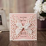 Hollow White Lace Flora Flowers Wedding Invitations Elegant Laser Cut Ribbon Bowknot Party Greeting Paper Cards CW6177 (100)