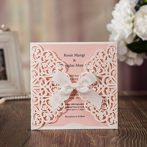 Hollow White Lace Flora Flowers Wedding Invitations Elegant Laser Cut Ribbon Bowknot Party Greeting Paper Cards CW6177 (100) by Wishmade