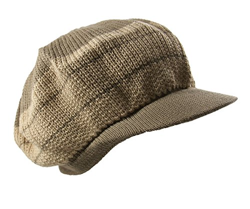 NY Knit Cotton Beanie Visor (Khaki/Beige)
