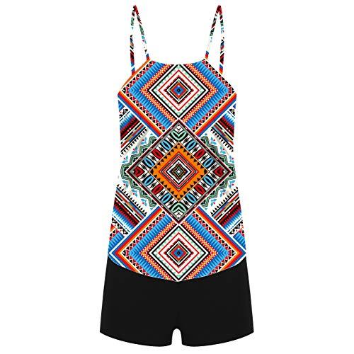 CIZITZZ Women's 2 Piece Swimsuits High Neck Halter Printed Tankini Sets Tummy Control Bathing Suit,AfricanP,S