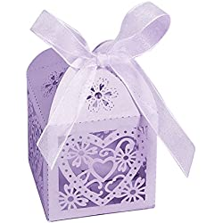 Modelo Decor Boxes For Party Candy - Wedding Favor Containers - Home Bakery Treat Box, or Mini Cupcakes. Baby Shower Gift or Cake Topper. Prettier Thank Clear Boxes, Laser Cut (Lilac)