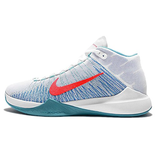 Nike Zoom Ascention, Scarpe da Basket Uomo Bianco (White / Brght Crmsn-omg Bl-pht B)