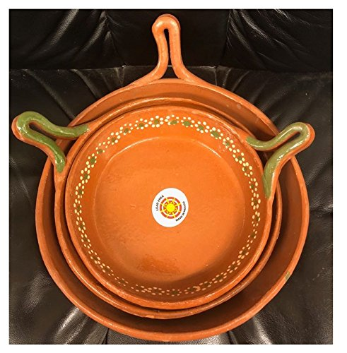 Made in Mexico Barro Juego De Sartén Mexicano Mexican Clay Skillet Frypan Set of 3 Lead Free