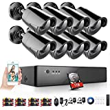 Rraycom 1080P Security Camera System 8 Channel 1080H DVR Video Recorder with 1TB Surveillance Hard Disk Drive Pre-installed and (8) 2000TVL Weatherproof Cameras with Build-in IR-cut filter