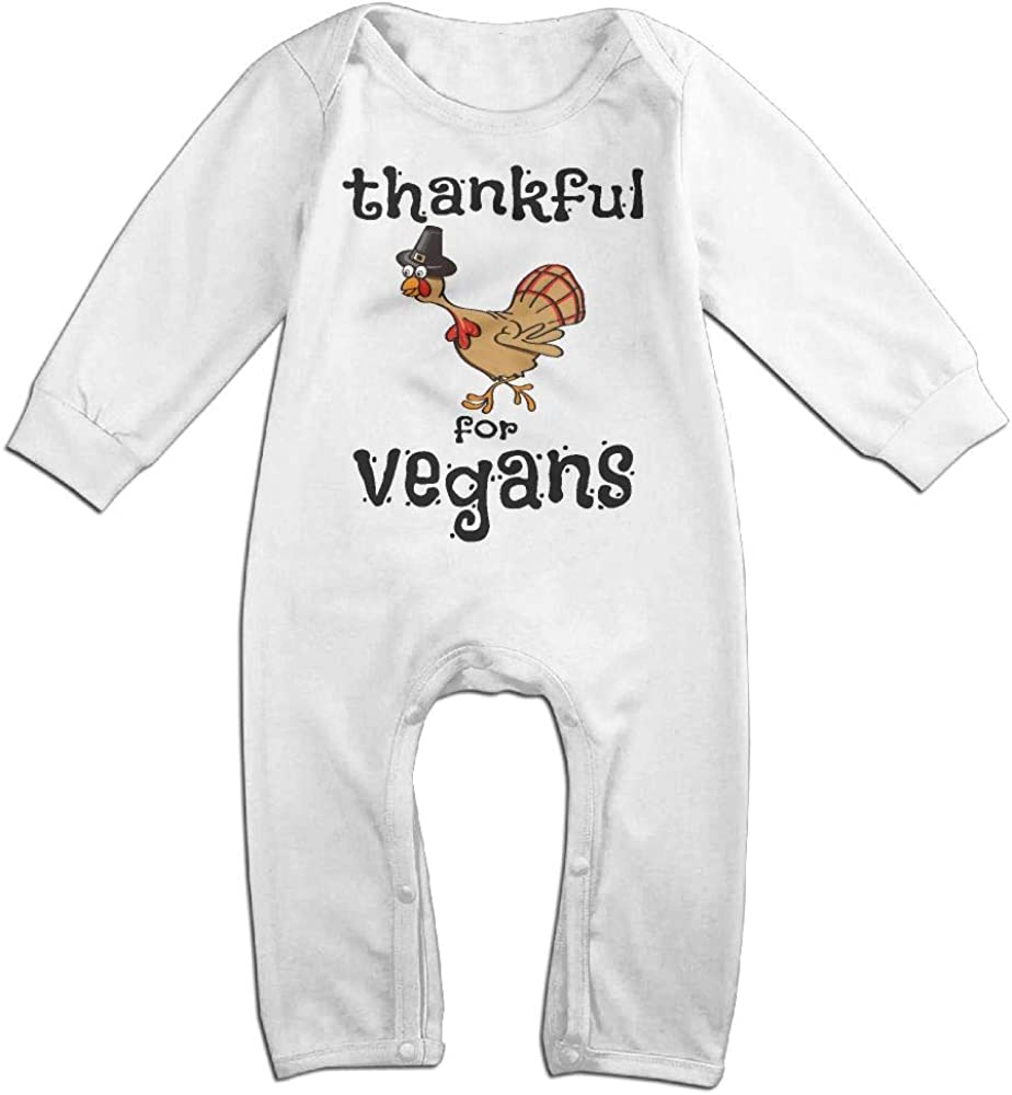 Mri-le1 Baby Girls Bodysuits Thankful Vegans Thanksgiving Turkey 2-1 Baby Clothes