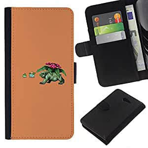NEECELL GIFT forCITY // Billetera de cuero Caso Cubierta de protección Carcasa / Leather Wallet Case for Sony Xperia M2 // Divertido de Poke Monster