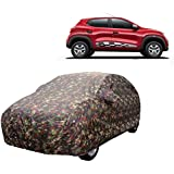 MotRoX Car Body Cover For Renault Kwid with Side Mirror Pocket (Military Color)