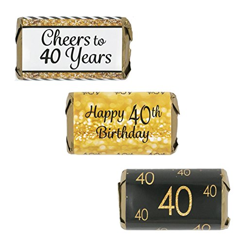 40th Birthday Party Miniatures Candy Bar Wrapper Stickers - Gold and Black (Set of 54)