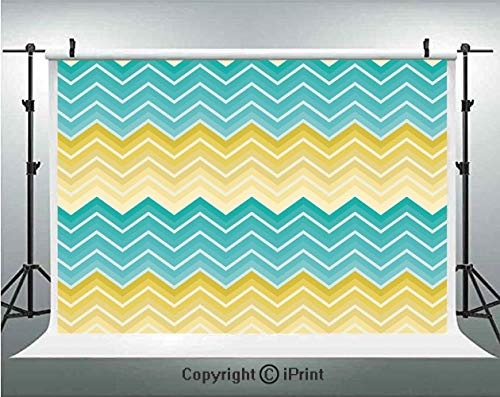 Yellow and Blue Photography Backdrops Horizontal Chevron Motifs Zigzag Lines Pattern Ombre Inspired Design,Birthday Party Background Customized Microfiber Photo Studio Props,10x10ft,Aqua Mustard